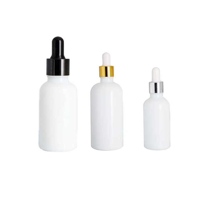 10ml 15ml 1oz 30ml 50ml 100ml white glass ceramic essence oil dropper bottle with gold silver ring