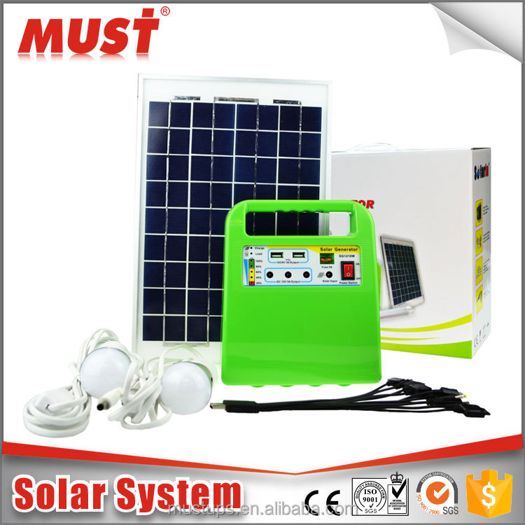portable Indoor use 10W solar home lighting system with mobile phone charger function