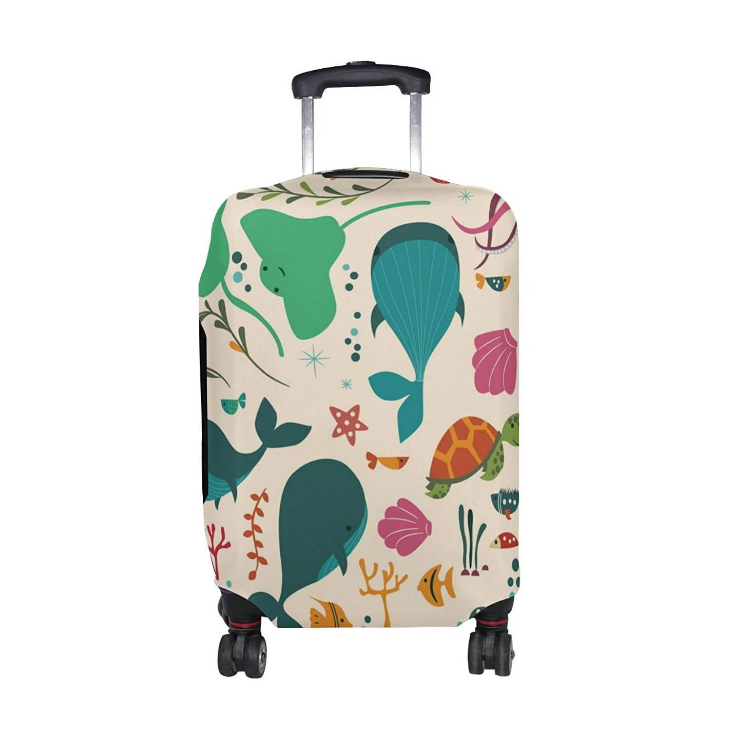 Travel Luggage Cover Octopus Dolphin Fish Starfish Sea Blue Suitcase Protector