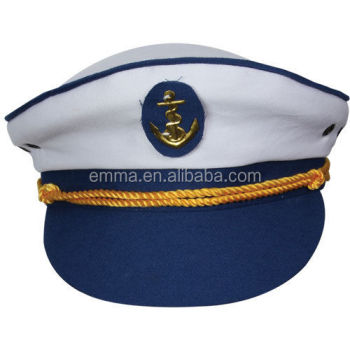 Modieuze Navy Kapitein Hoed Sailor Captain Wit En Marineblauw Hat Koop HT14812