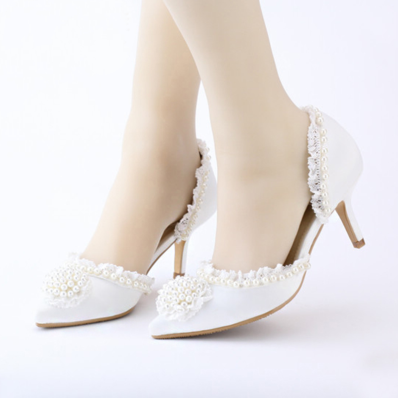Pointed Toe Wedding Dress Shoes Middle Heel White Lace Satin Women Shoes Elegant Beautiful Party Prom Shoes for Bride Bridesmaid