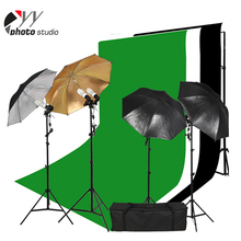 Professional studio equipment photo kits with reflective umbrella&muslin backdrop