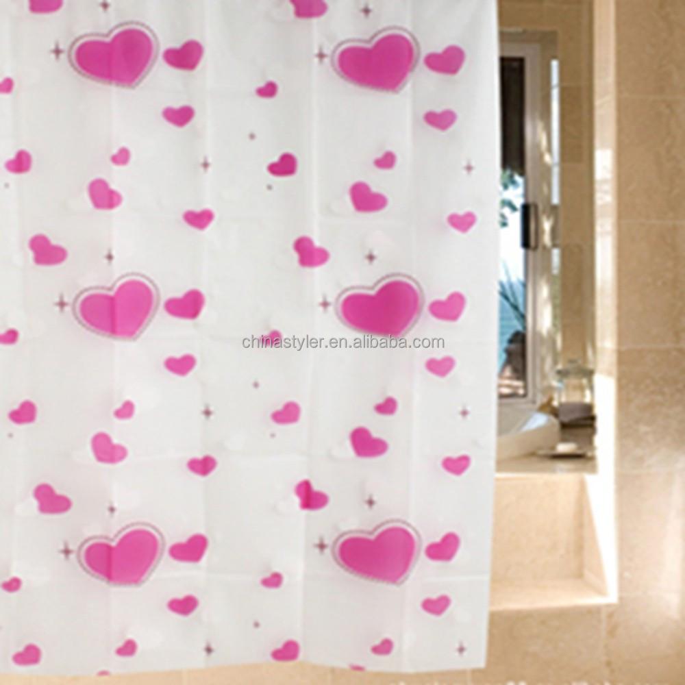 peva rideau de douche couleur blanc avec rose coeur impression tanche rsistant la moisissure rideau - Rideau De Douche Color