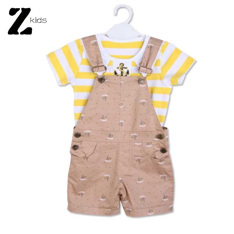 2015 Summer Style Cotton Baby Boy Clothing Sets Striped Childrens T shirts +Bib Shorts Gentleman Overalls Kids Brands 2 Colors