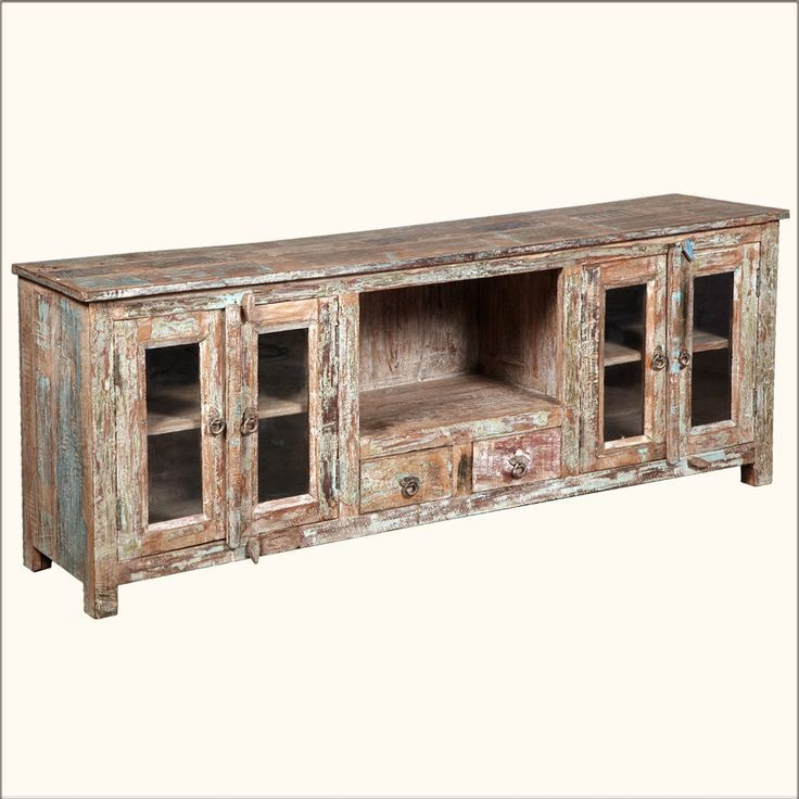 Rustic Reclaimed Distressed Solid Wood Media Console Cabinet Antique Storage With Casters Curio