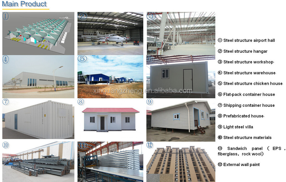 XGZ portable steel structure prefabricated houses