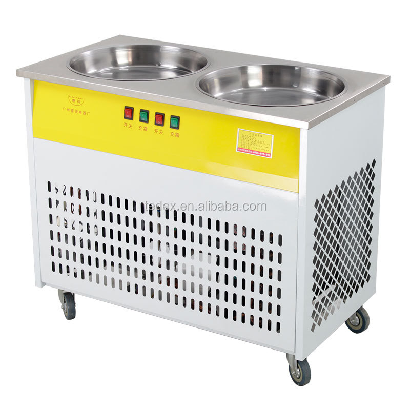 Hot Sale Commercial Double Pan Foot Deforst Thai Fried Ice Cream Roll Machine/Fried Ice Machine From Guangzhou Factory Price