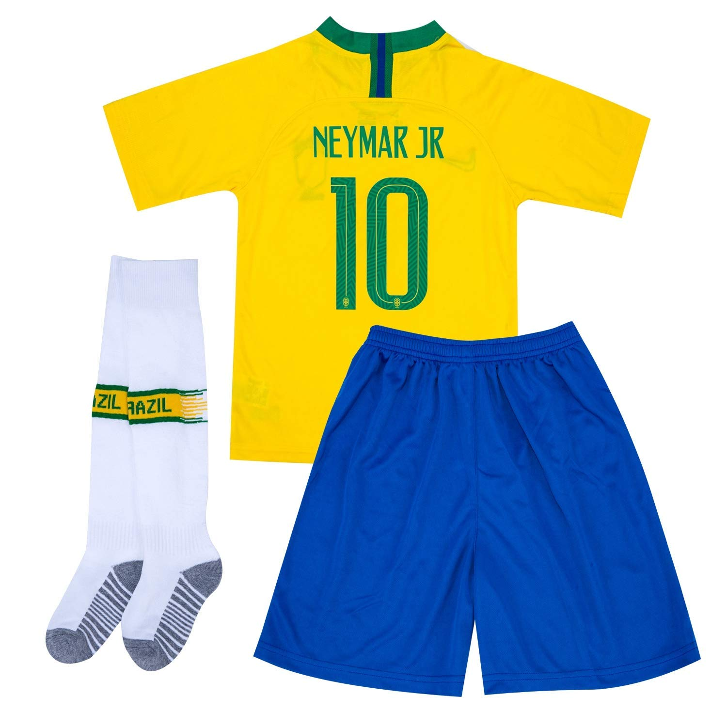 567b6310867 Get Quotations · AIYIZHU 2017-2018 Brazil Neymar 10 Kids Soccer Shorts  Socks Yellow