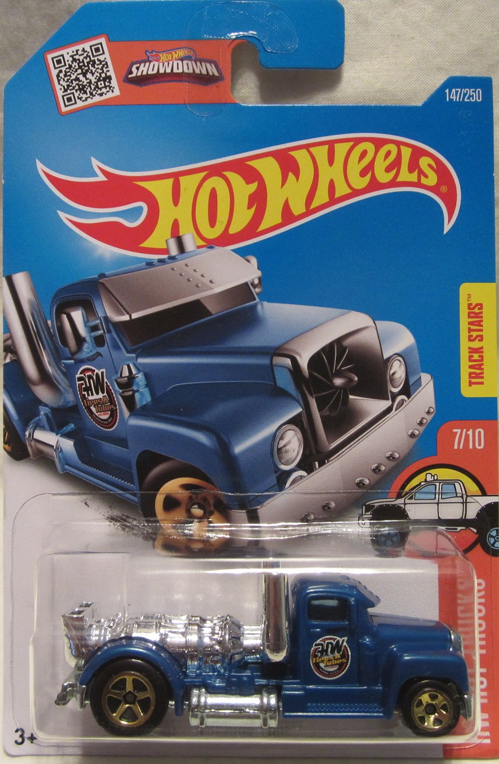 Hot Wheels 2016 HW Hot Trucks Series Turbine Time Blue 1:64 Scale Collectible Die Cast Metal Toy Car Model #7/10 on International Long Card