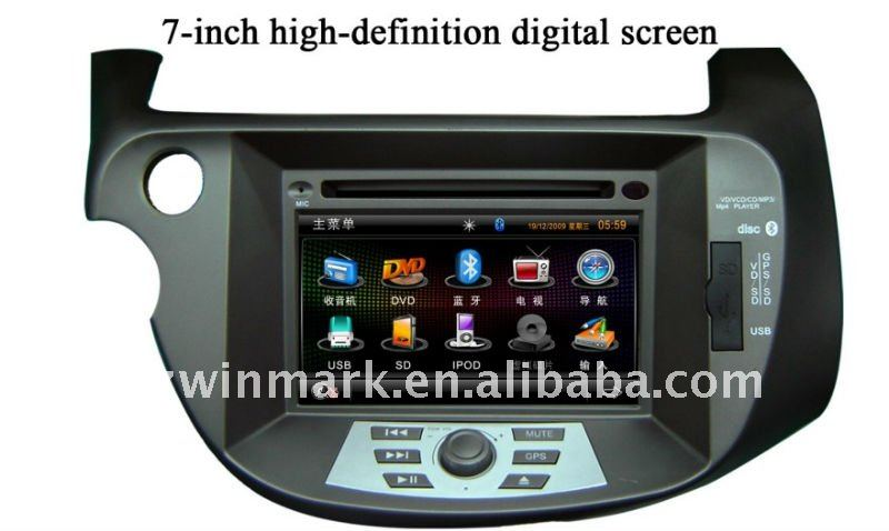 In dash double din special car dvd player for honda new fit with gps bluetooth radio tv usb sd