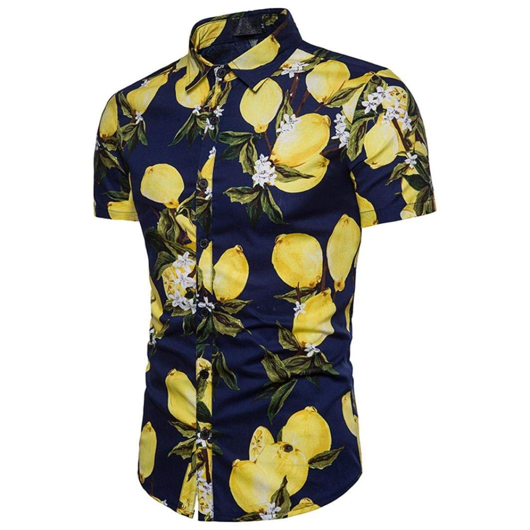 8126dc366089 Get Quotations · Han Shi Fashion Mens Shirts Casual Fruit Print Short  Sleeve Tropical Tank Top Blouse