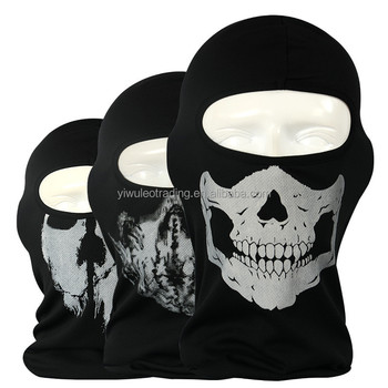 Cotton wholesale cheap Full Face Horror Mask Adult Unisex black Skull Face Mask Bandanas