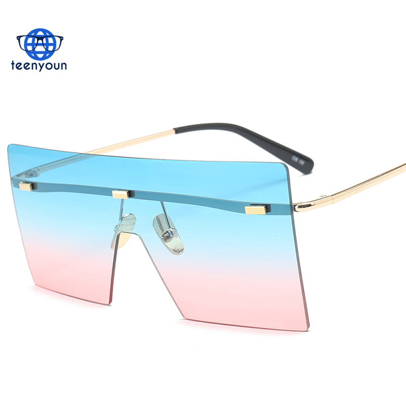 2018 big frame one piece lens sunglasses women square blue pink brown metal rimless sun glasses