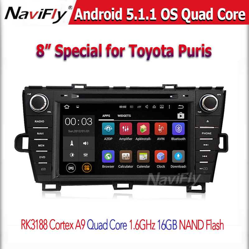 Quad core RK3188 1024*600 screen 2 DIN Android 5.1. car GPS Player For toyota PRIUS 2009-2013 with WIFI BT stereo Car radio