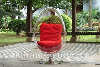 Outdoor Furniture Acrylic Oval Egg Chair With Stainless