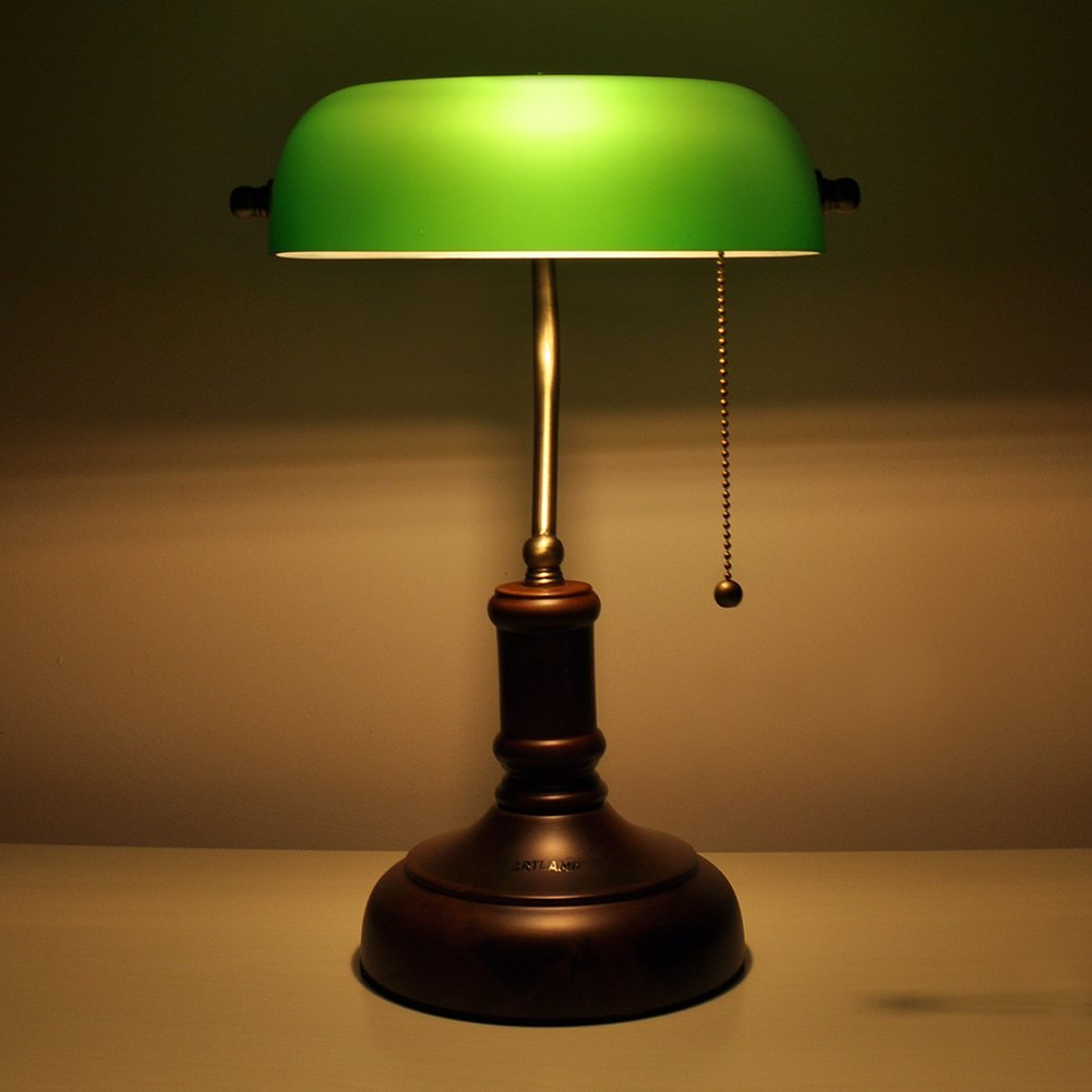 bankers green art stand home with desk lamp shade vintage brass