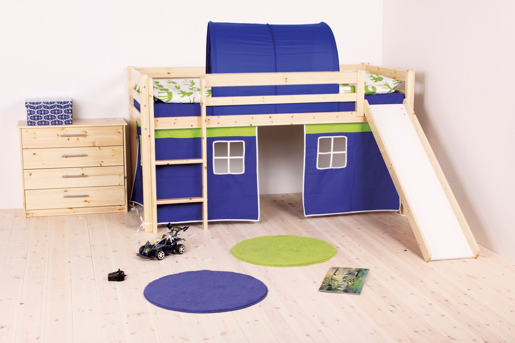 Thuka Kid's Castle Loft Bed With Slide & Bottom Playhouse – With Blue/Green Curtains And Cave– including Safety Guard Rails & Ladder – Ideal Kid's Furniture Set