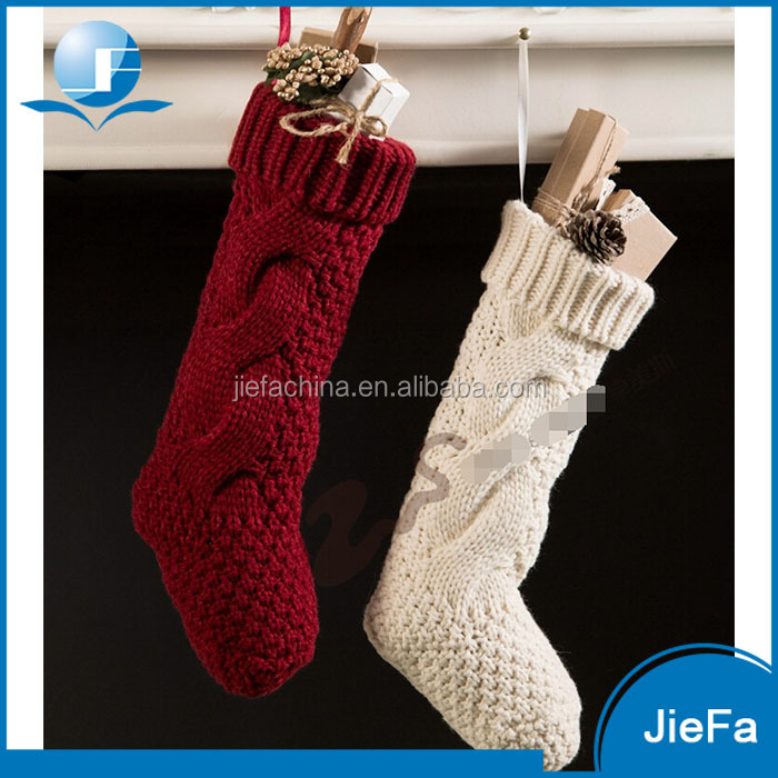 2017 High Quality Wholesale Customized Handmade Knitted Christmas Stockings