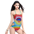 2016 new Sexy halter straps women swimwear P j one piece swimsuit Colorfull Dot printing Summer