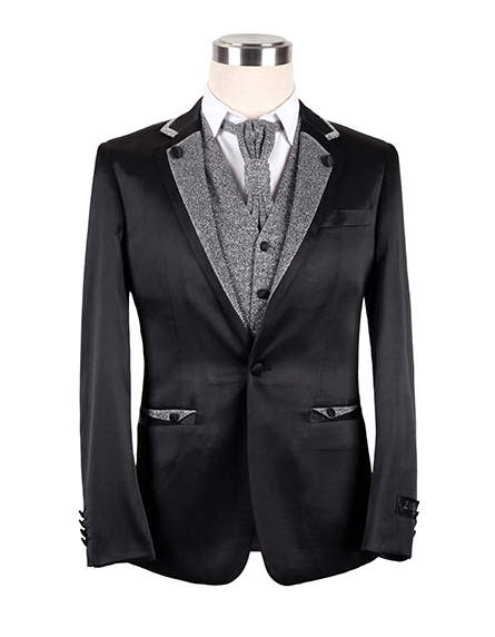 Fabric Type Custom Latest Design Of Groom Black Wedding Suit For Men