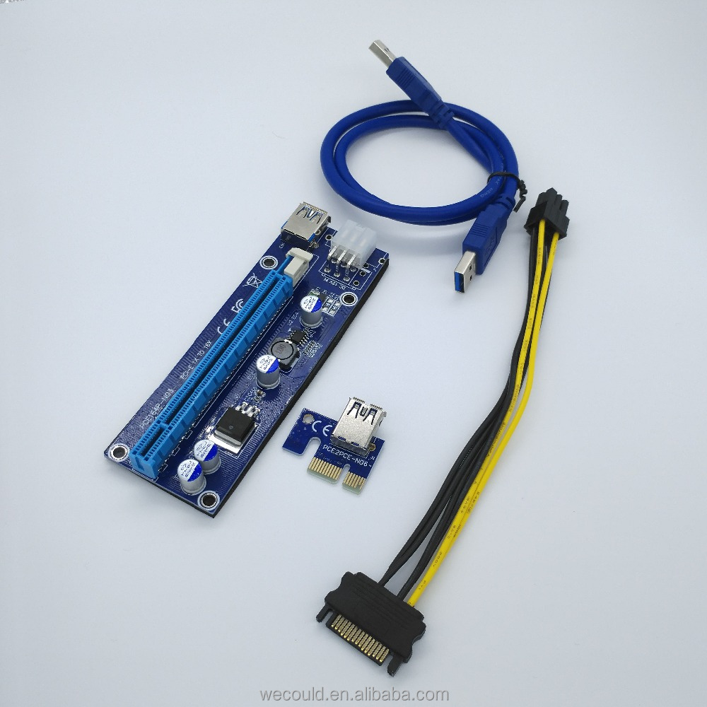 WECOULD 60CM Mini PCI-E Express Riser 1X to 16X to USB 3.0 Cable 6pin pcie USB Riser For Bitcoin Mining