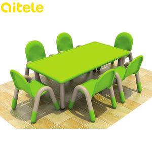 Colorful popular plastic nursery primary children school tables and chairs, kids study table with chair