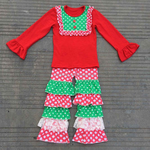 2015 latest kid sweet clothes wholesale children's boutique clothing set Christmas outfits with ruffle pants