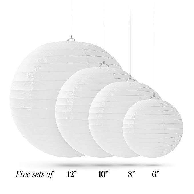 6-12 Inch Wholesale Cheap White Paper Lanterns Chinese Round Lanterns Wedding Ceremony Paper Lanterns( 20 packs )