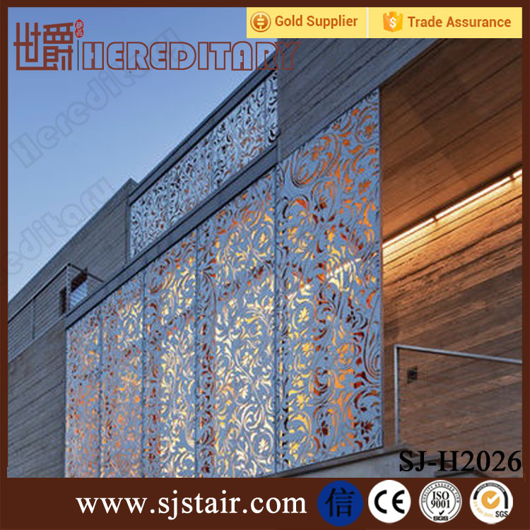 Blue Color Decorative Laser Cut Metal Balcony Railing