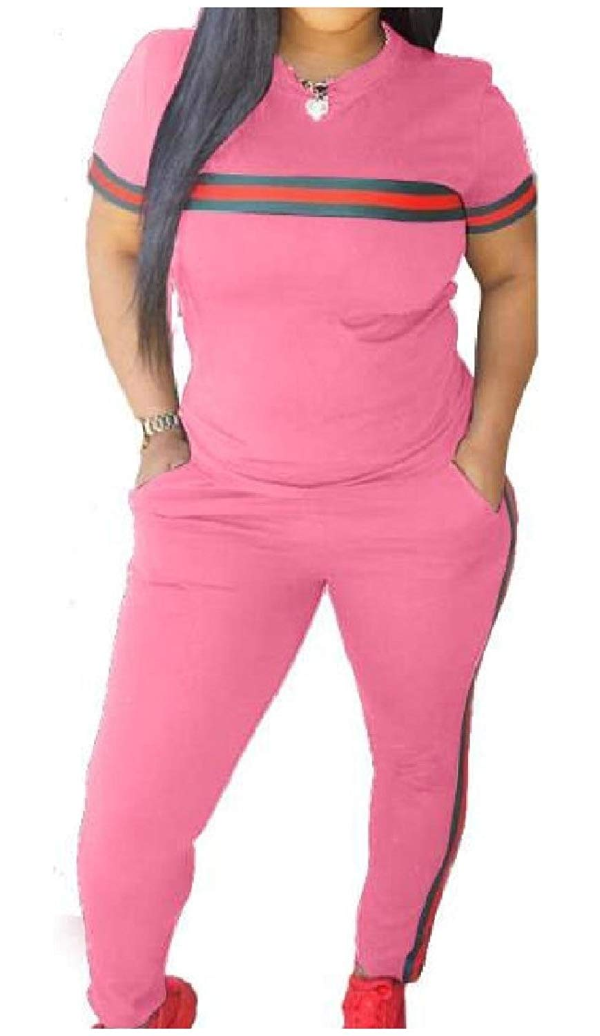 Coolred-Women Sports Cozy Casual Pants and Short-Sleeve T-Shirts Outfit