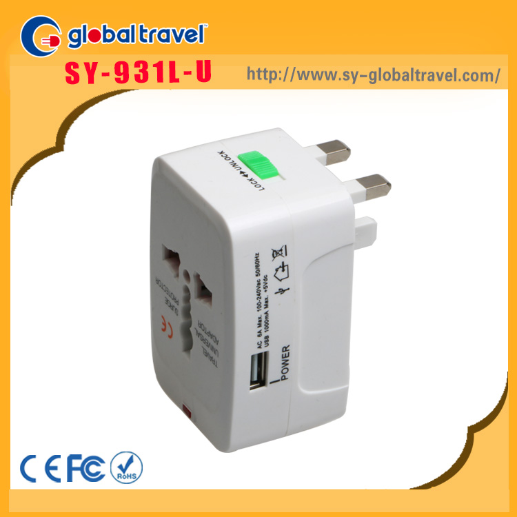 Good price and quality EU USA AUS UK standard electric travel adaptor plug with single usb