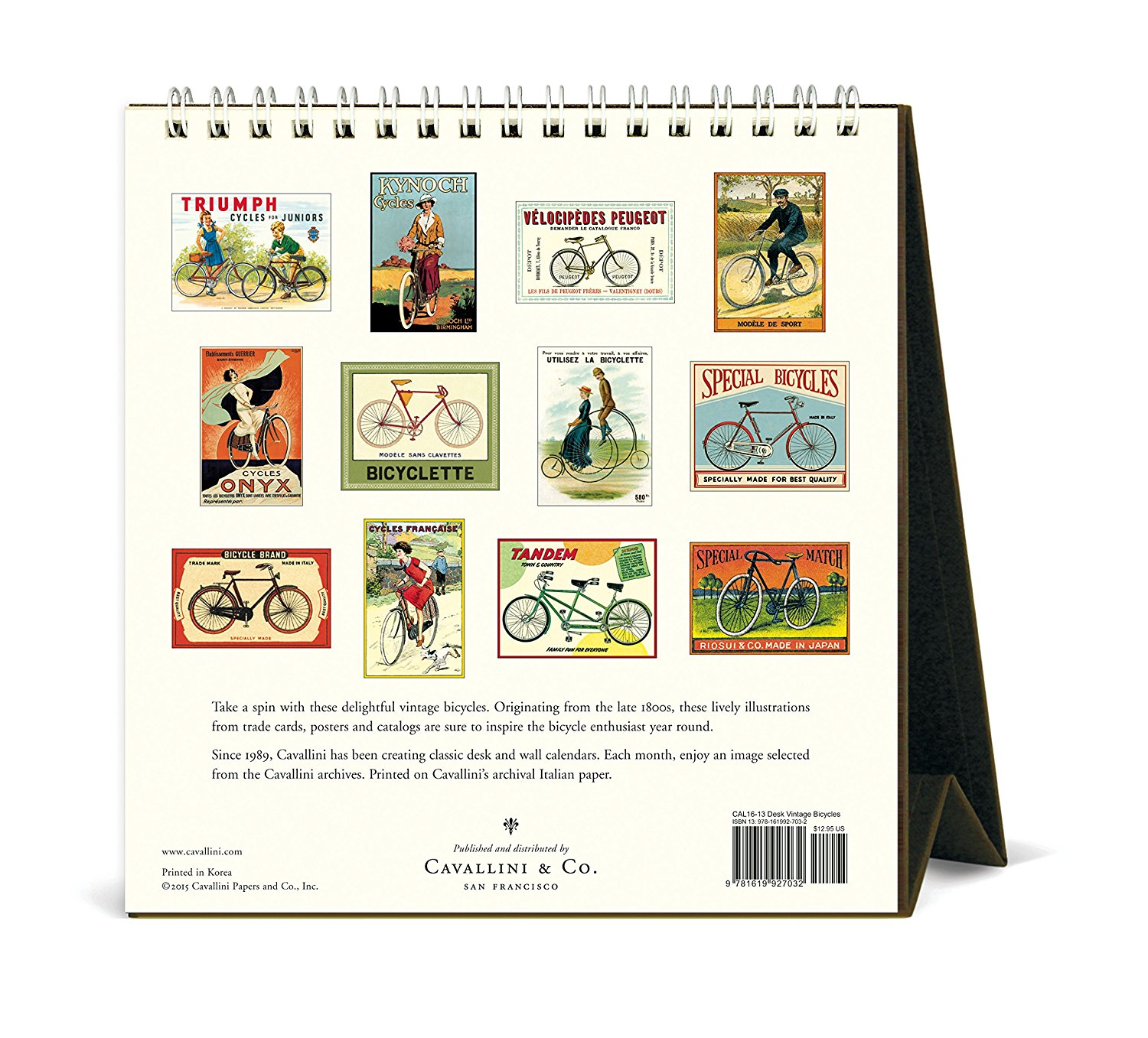 Cavallini Papers & Co CAL16-13 2016 Vintage Bicycles Desk Calendar