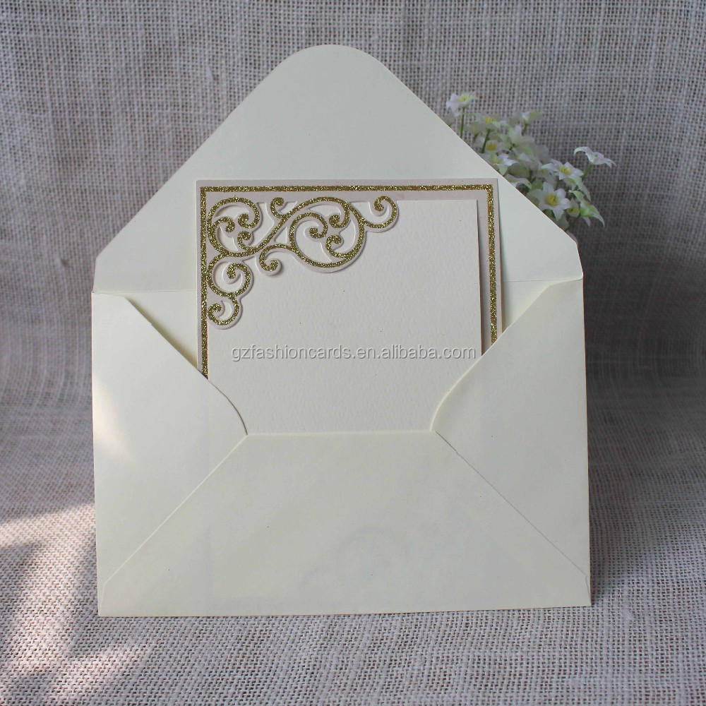 2016 Gold Powder Ivory Muslim Simlpe Blank Wedding Cards Invitation ...