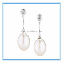 newest design flat pearl earring, silver plated crystal pandant pearl earring