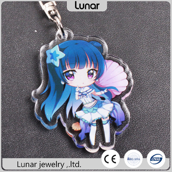 low moq cartoon double side printed anime craft custom transparent