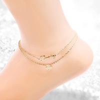 Lucky Clover Anklets Foot Jewelry Gold Stainless Steel Anklet