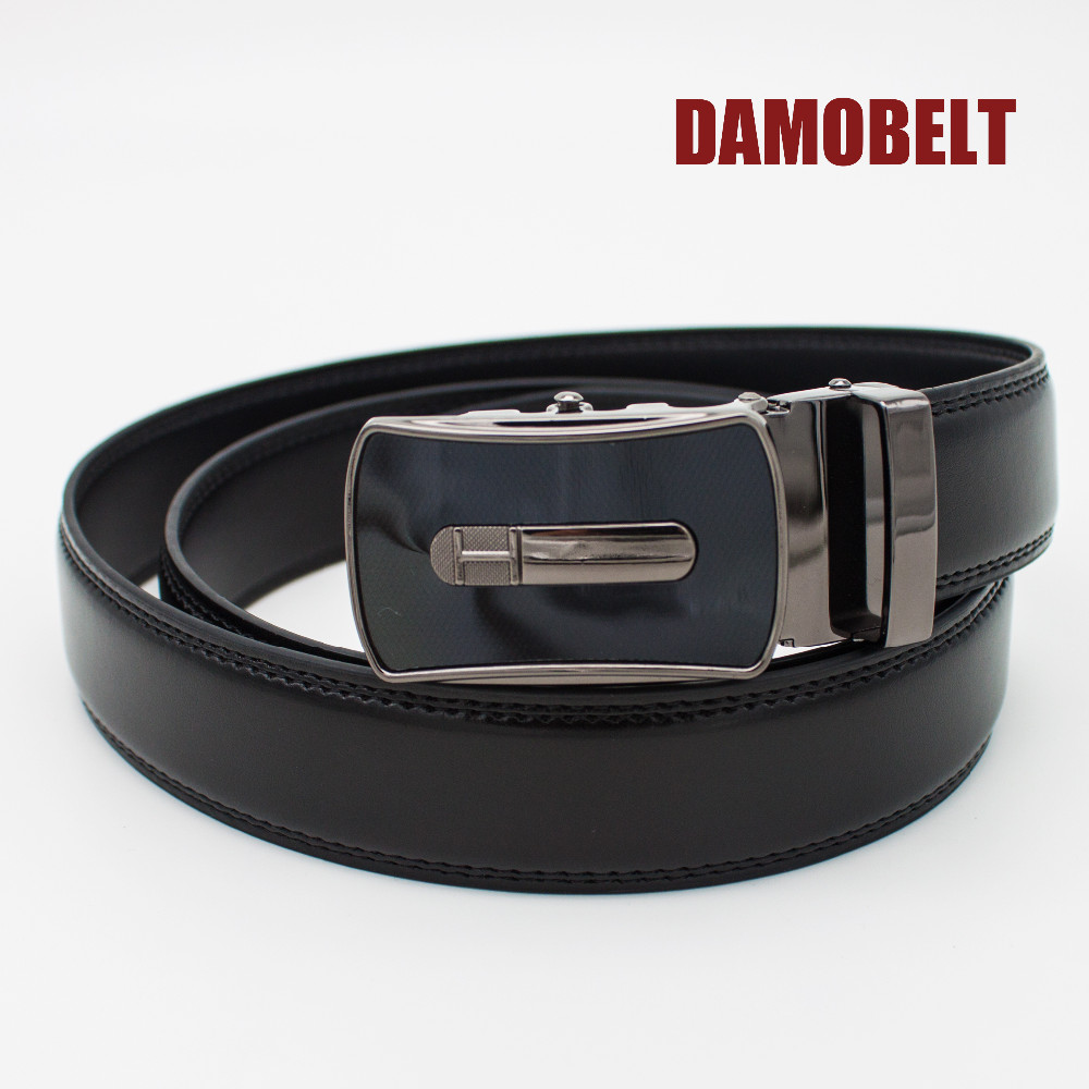 automatic belt leather one size fits all Mens Black Belt no holes needed Black /& Gold Buckle Leather turkey made