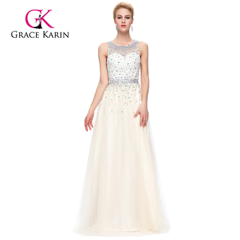 Grace Karin Sleeveless Sleeveless Tulle Netting Ivory color Beaded Prom Dresses GK000081-2