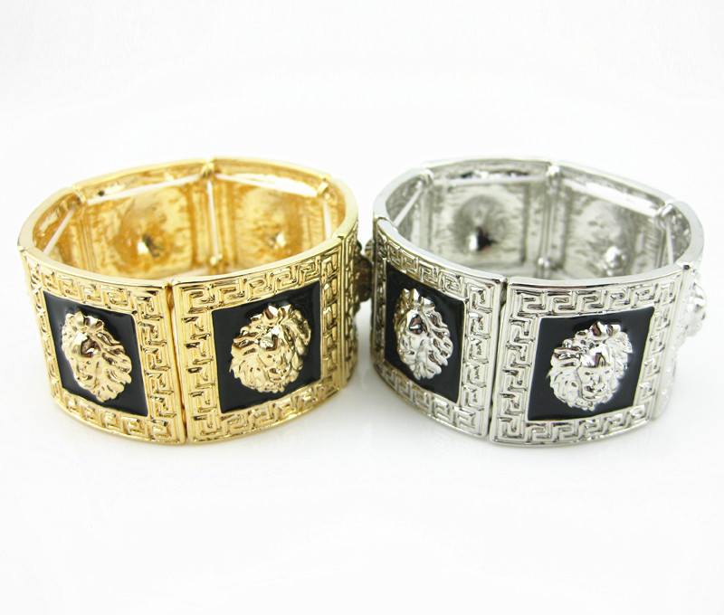 Zinc Alloy Lion Head Charms Stretch Bracelet