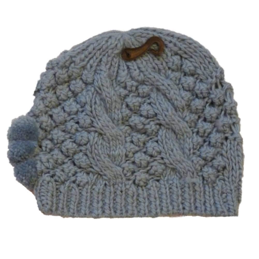 a4ae16d24fa Get Quotations · No Boundaries Womens Blue Knit Winter Pom Pom Hat Stocking  Cap Beanie