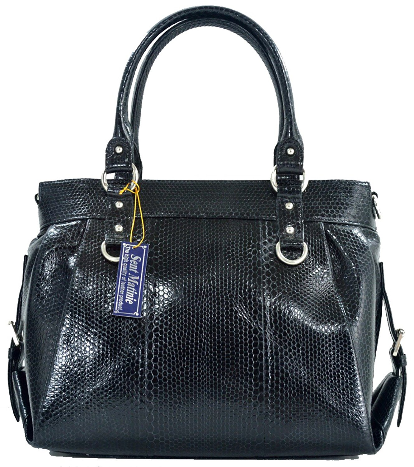 Get Quotations · St Snake Skin Women s Handbag Tote Hobo Sea Snake Leather  Black 9ca2533daf