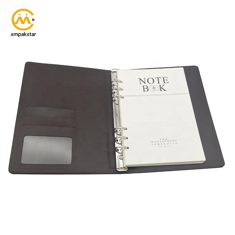 Metal spiral office agenda vintage brown PU leather reusable refill notebook with inner pocket