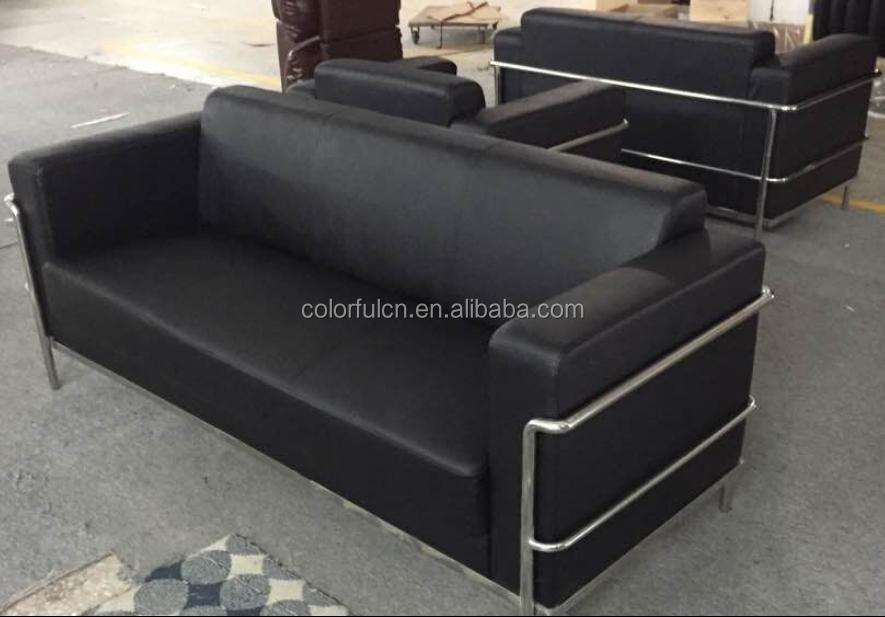 Echt Leder Edelstahl Wartezimmer Sofa Wartebereich Sofa Buro Sofa