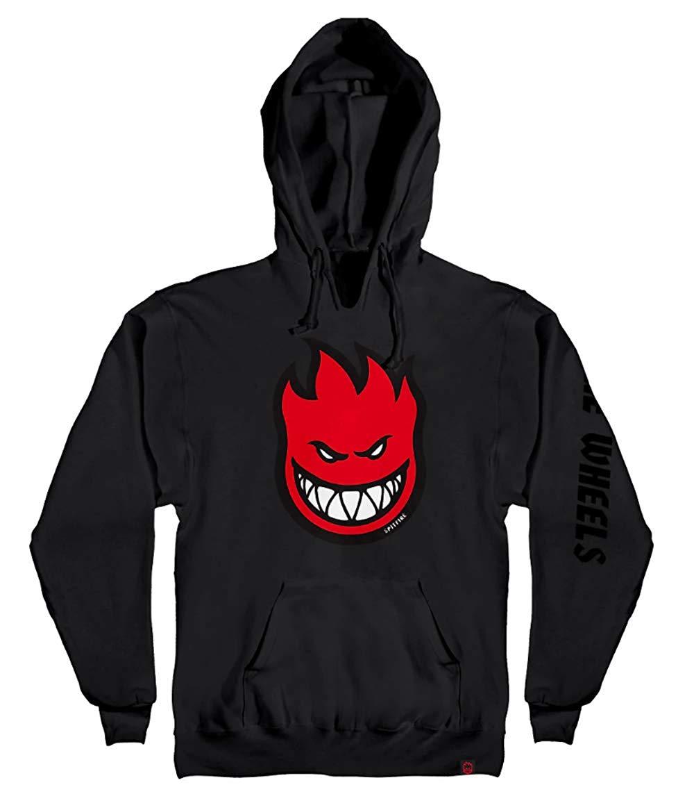 spitfire wheels Bighead Fill Sleeve Logo Pullover Skateboard Hoodie - Black/Red - Large