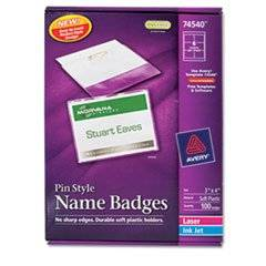 Badge Holder Kit W/laser/inkjet Insert, Top Load, 3 X 4, White, 100/box By: Avery