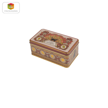 rectangular metal cookie tin box with embossed