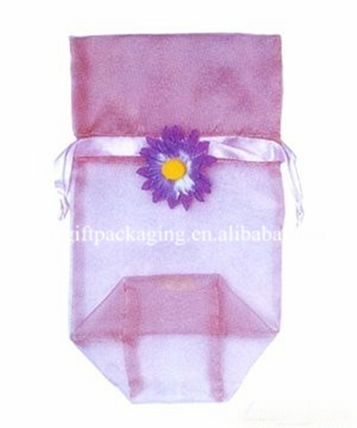 first-rate pink square bottom organza jewelry bag with flower,promotional organza bag,organza cosmetic bag
