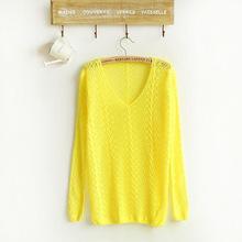 Jarný dámsky pletený svetrík v rôznych farbách z Aliexpress