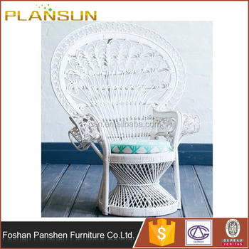 outdoor setting handcrafted white peacock rattan chair with seat