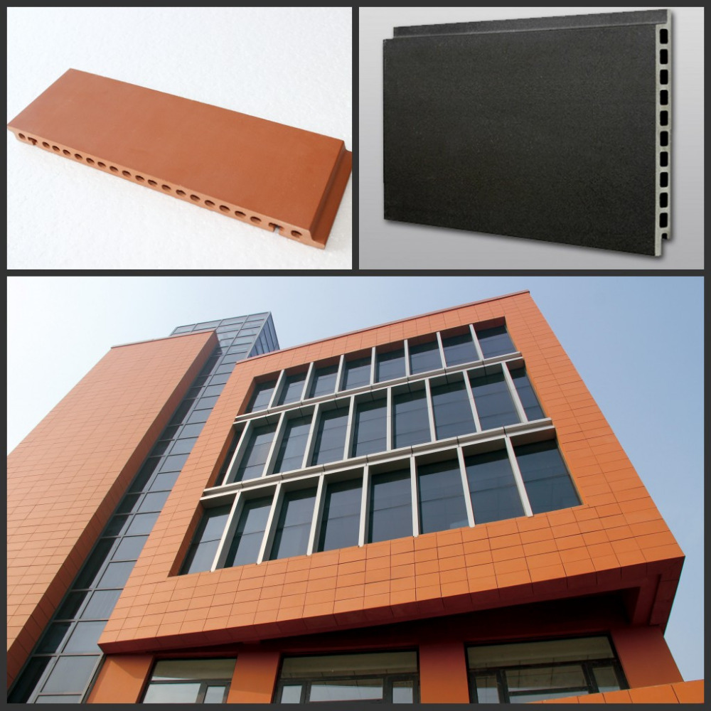 Various shapes clay panel facade exterior wall terracotta stick terra cotta tile cladding dry hanging klinker terracotta prod